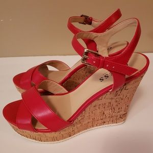 Guess Red wedge with ankle strap sandal size 7
